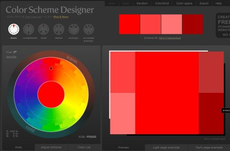 Color Scheme Designer website screenshot