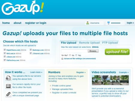 Gazup website screenshot