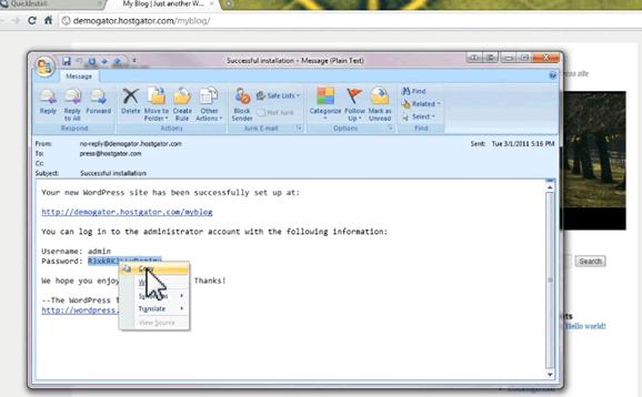 wordpress dashboard details by hostgator's quick install