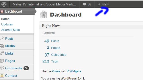 wordpress first new post