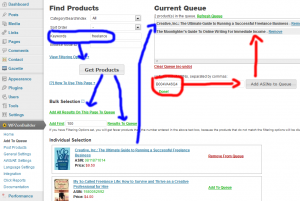 WPZonBuilder how add products to queue