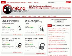 Retro headphones website screenshot