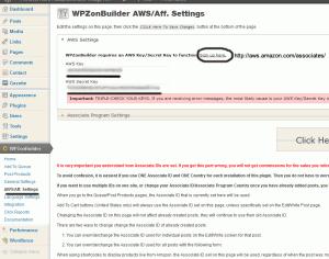 WPZonBuilder AWS Aff Settings setup