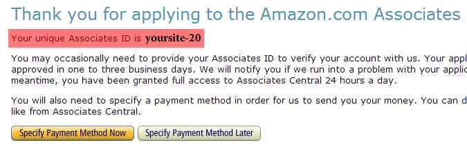 Amazon Associates Program Confirmation Page