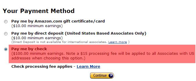 Select Amazon Associates Payment Method