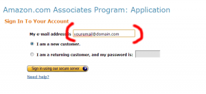 Submit email address for amazon account
