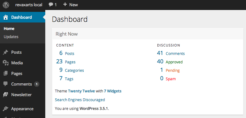 WordPress 3.6 backend sneak preview(admin dashboard)